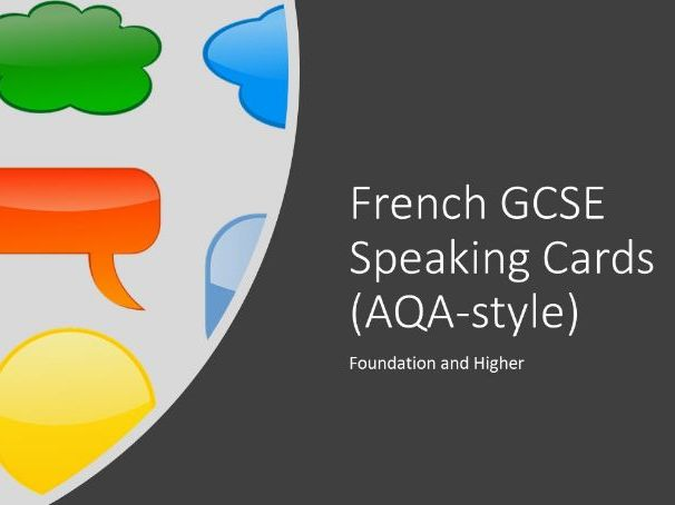 French GCSE speaking cards (AQA style), Foundation & Higher
