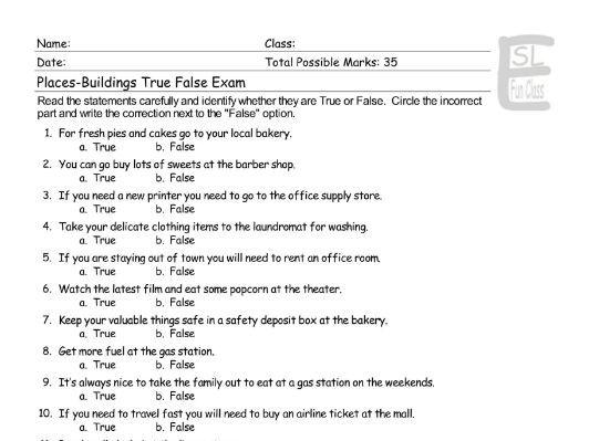 Places-Buildings True False Exam