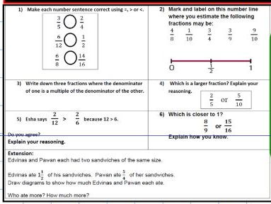 Fractions - Mastery with greater depth - SATS - KS2 Year 5 6 - observation Ofstead - WORKSHEET ONLY