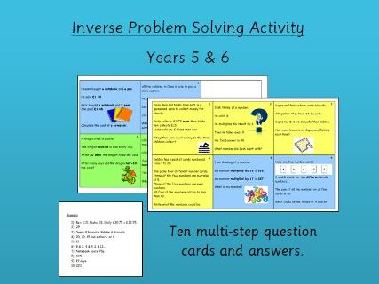 Inverse Problem Solving Cards - an activity for  Y5 or Y6