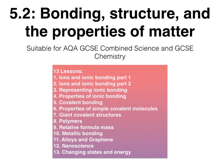 Full Topic: Bonding, Structure and The Properties of Matter