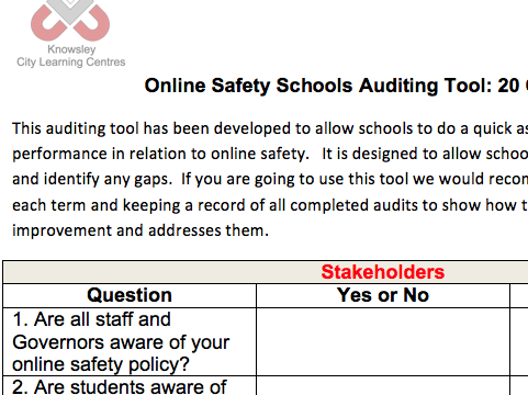 Online Safety Audit Tool
