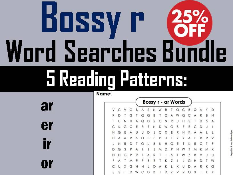 Bossy r Worksheets Bundle: ur, or, ir, er, and ar Phonics Word Searches