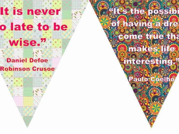 Bunting for classroom display- Book quotes