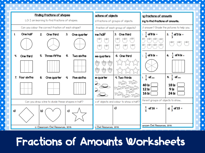 Year 2 Maths: Finding fractions of shapes, objects & amounts (differentiated worksheets)