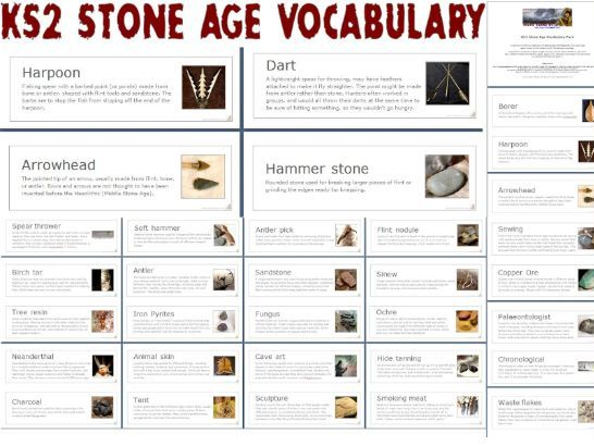 KS2 Stone Age Vocabulary - illustrated
