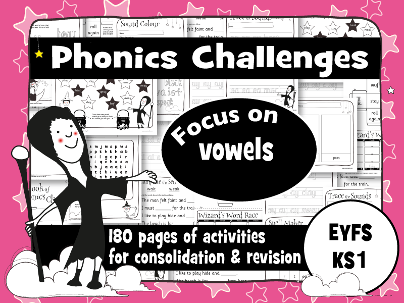 Year 1 Phonics Revision Books: Vowel Sounds: Set of 4