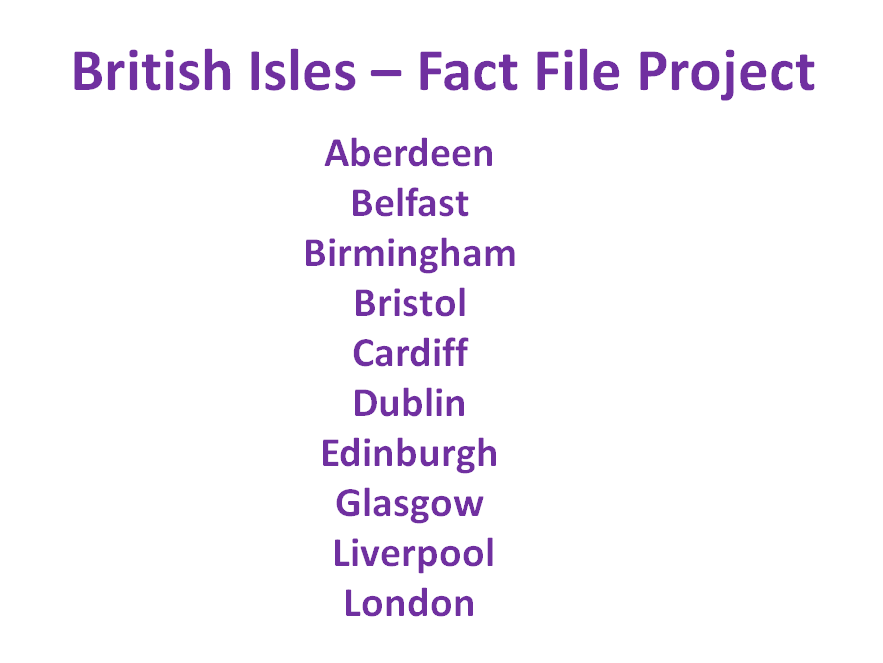 Cities of the British Isles - Fact File Project for Geography & Information Technology