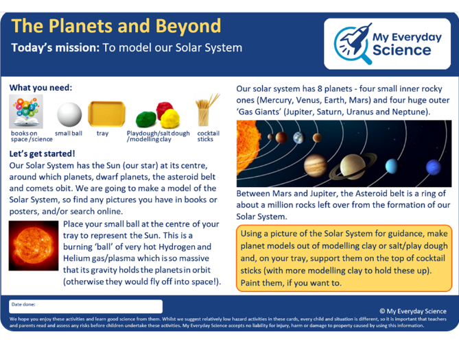 Y5 Earth & Space My Everyday Science Cards