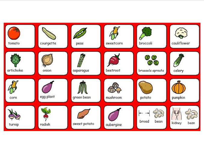Fruits and Vegetables Symbol Word Grid Part 2 - SEN or Lower Ability