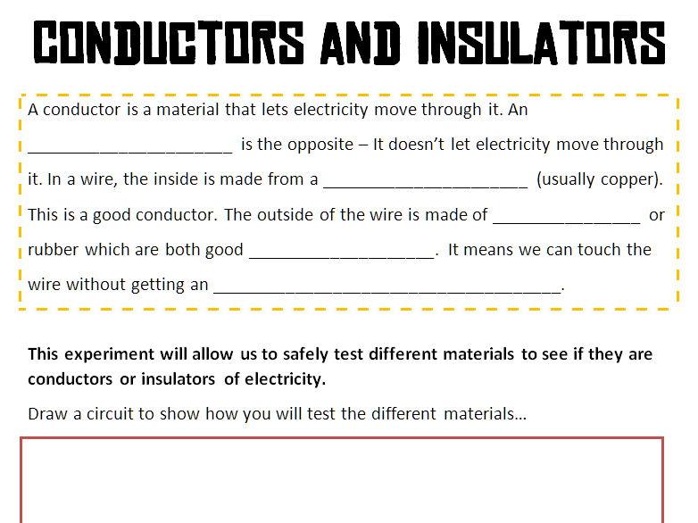 Conductors and Insulators Worksheet and Short Experiment