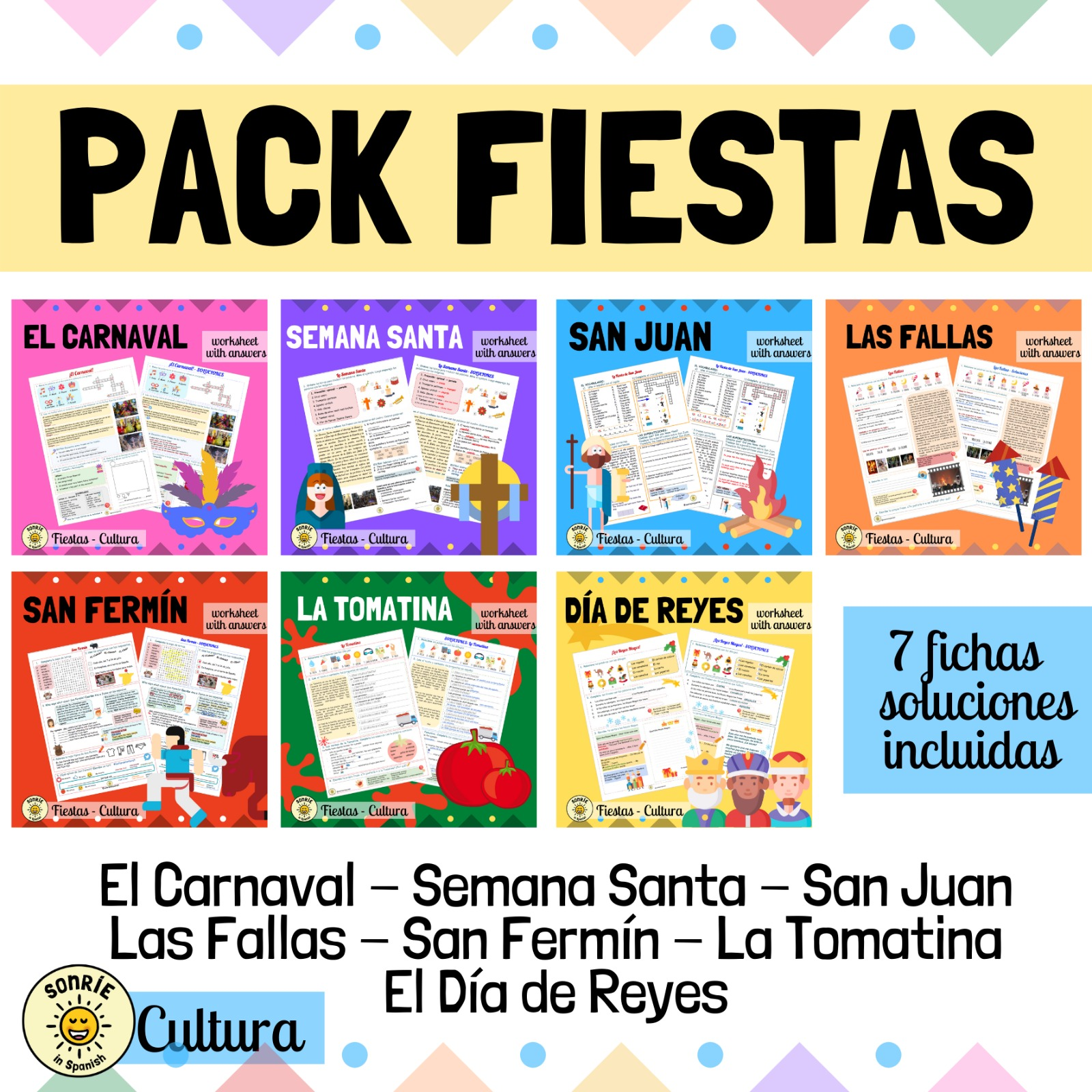 Pack festivales Spanish festivals and traditions worksheets with answers