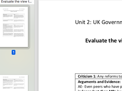 """EDEXCEL A level Politics """"Evaluate how far the House of  Lords are outdated institution"""" essay plan"""