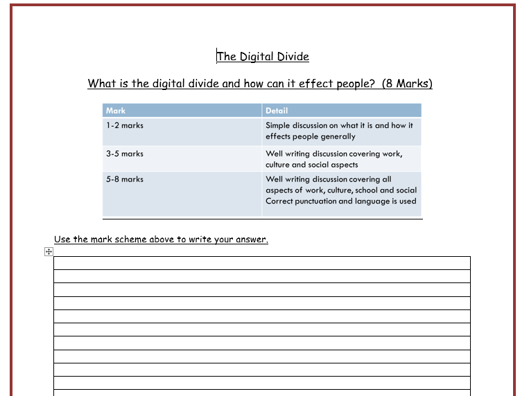 The Digital Divide Peer Assessment Worksheet