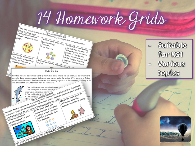 75 Homework Tasks for Y1 & Y2 - 14 sheets