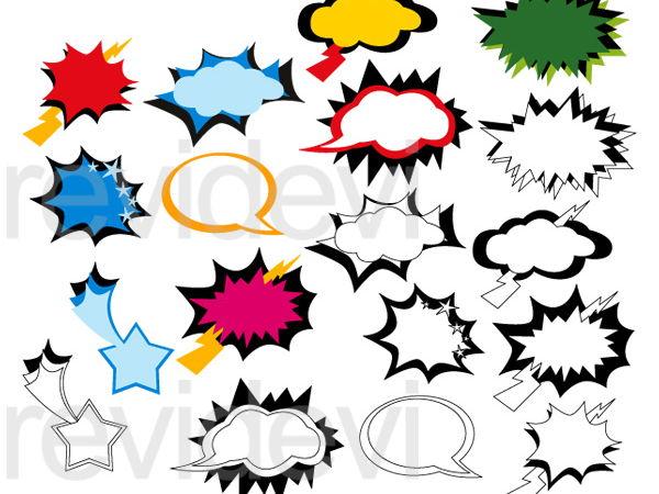Superhero Speech Bubbles Clip Art Graphcis