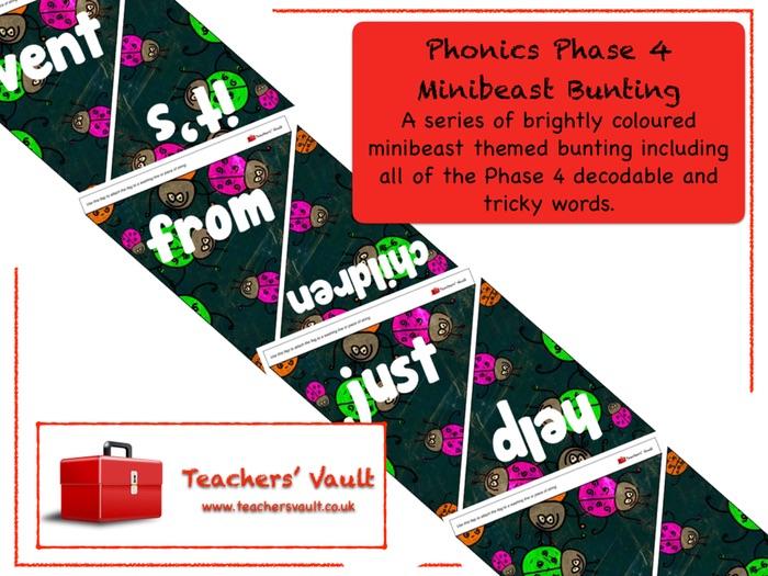 Phonics Phase 4 Minibeast Bunting