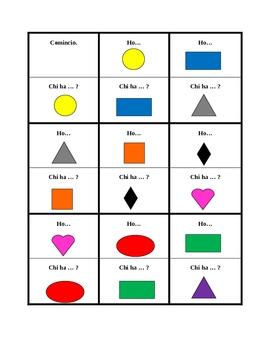 Colori e Forme (Colors and Shapes in Italian) Ho Chi ha