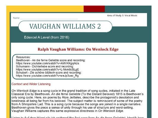 Edexcel Music A Level (from 2016) Vaughan Williams 2: Context and Wider Listening