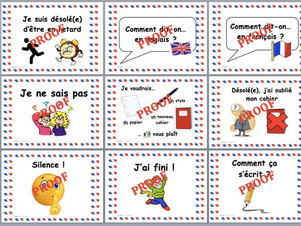 French classroom language display posters