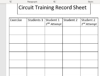 Circuit/Weight Training Record Sheet
