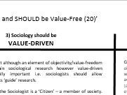 Values in Sociology - Theory and Methods A-Level AQA Sociology