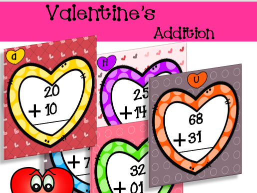 2 Digit Addition with regrouping Task Cards - Valentine's Day Themed