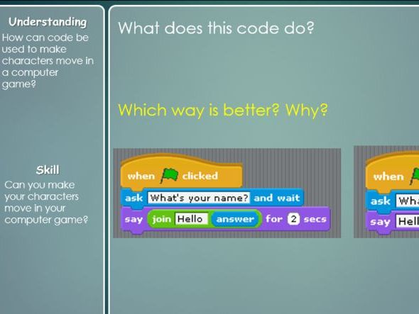 Scratch Visual Programming Unit of Work - computer games design, lesson powerpoints, outcomes