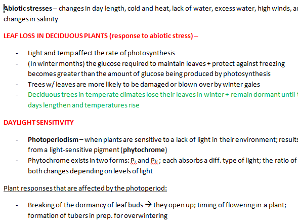 Plant responses to Abiotic stress [REVISION NOTES]