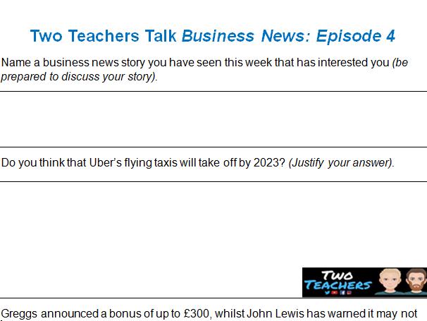 Activity Sheet | Two Teachers Talk Business News: Episode 4 (11/01/20)
