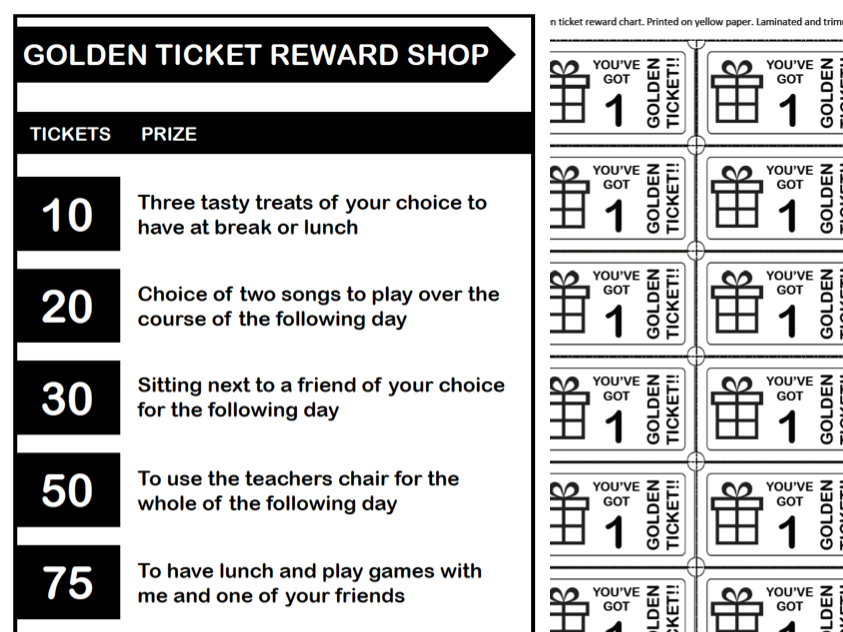 Golden Tickets - Reward System