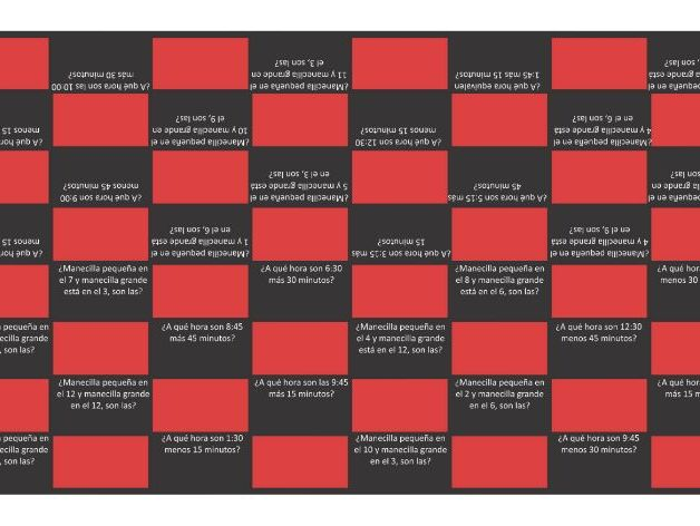 Telling Time Spanish Checker Board Game