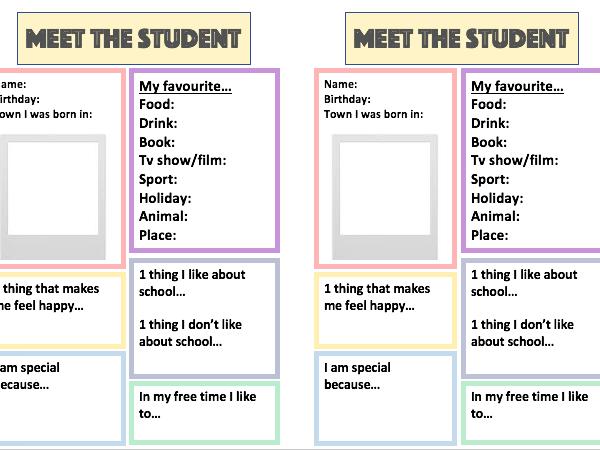 Meet the Student / Meet the teacher