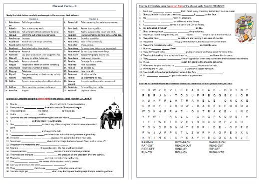 Phrasal Verbs Beginning with R: Worksheet / Revision