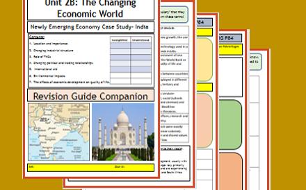 GCSE 9-1 AQA:  The Changing Economic World - Case Study India - Flipped Learning Booklet