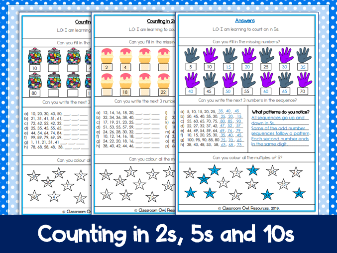 Year 2 Maths: Counting in 2s, 5s and 10s worksheets