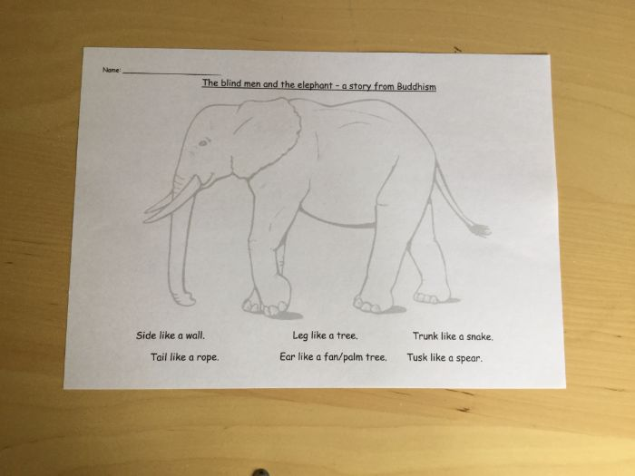 The Blind Men and the Elephant Buddhist Story worksheet Different Points of View RME 1-05a 2-05a