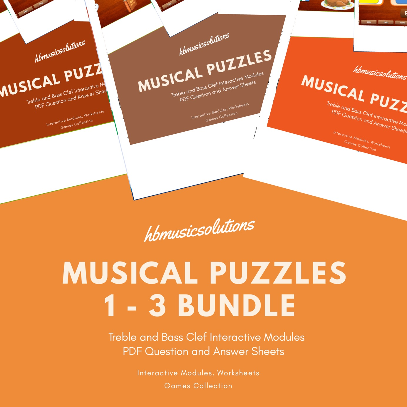 Musical Puzzles 1 -3 Bundle Treble and Bass Clef Interactive Modules and  Worksheets