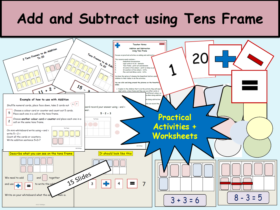 AdditionSubtraction Using Ten Frames Presentation Practical – Tens Frames Worksheets