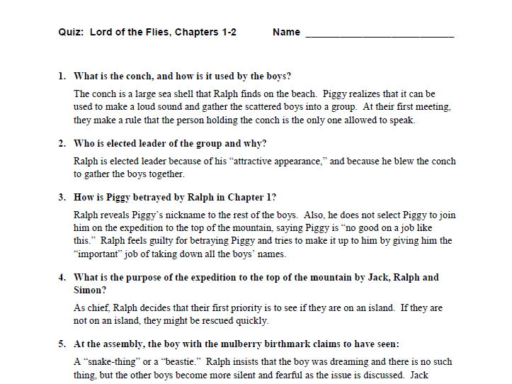 Lord of the Flies Quiz Set & Answer Key