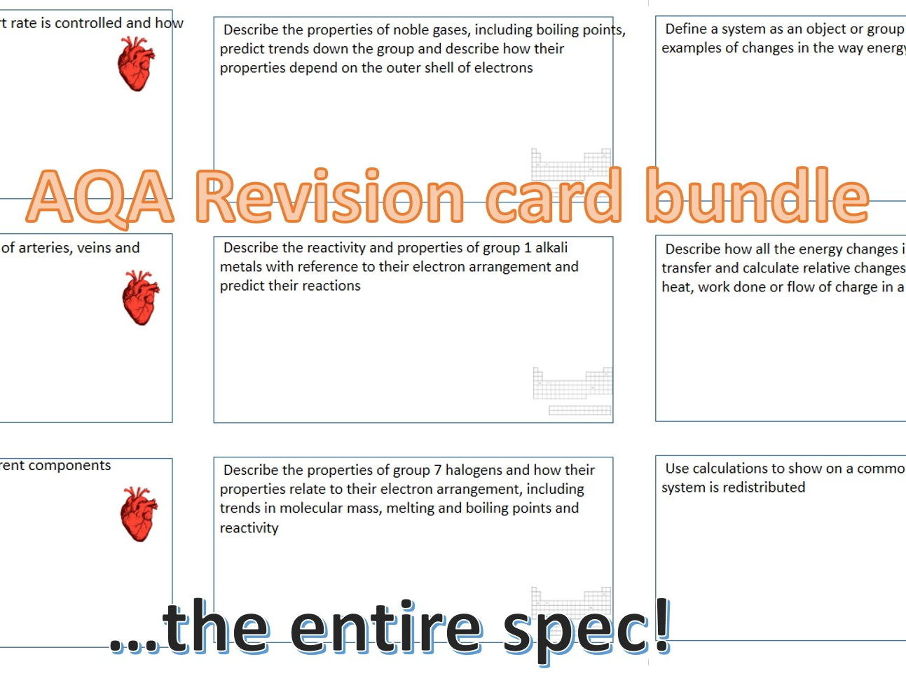 AQA Trilogy revision cards