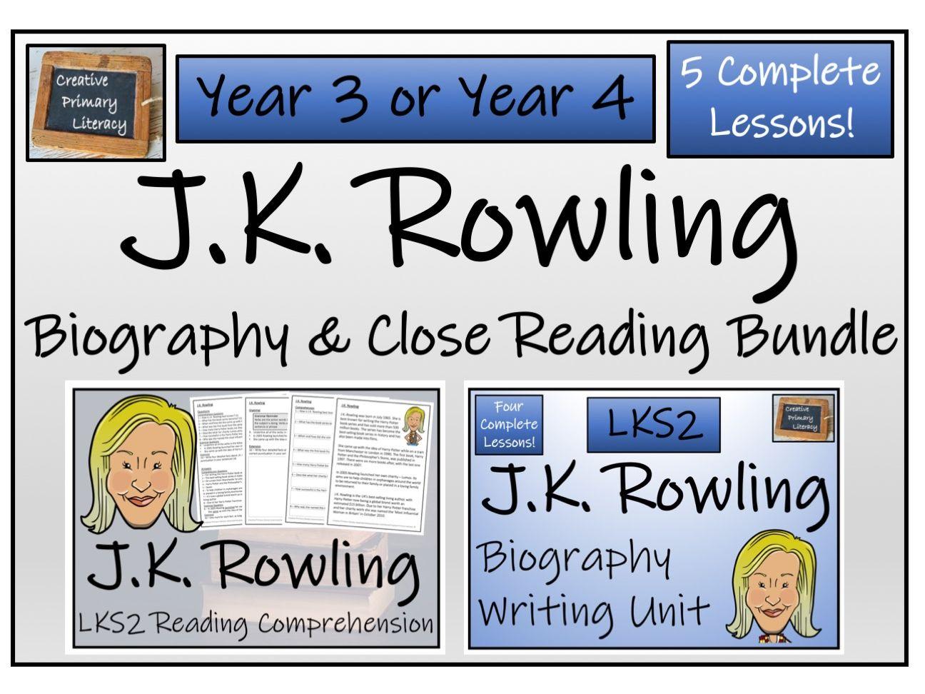 LKS2 Literacy - J.K. Rowling Reading Comprehension & Biography Bundle