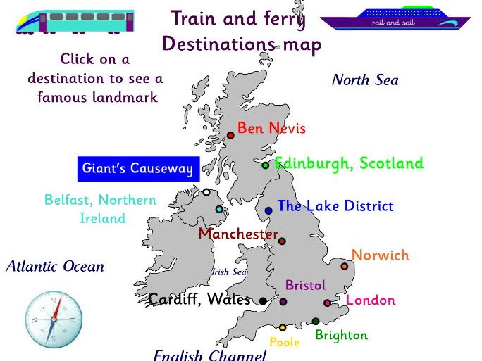 UK destination map by train or ferry