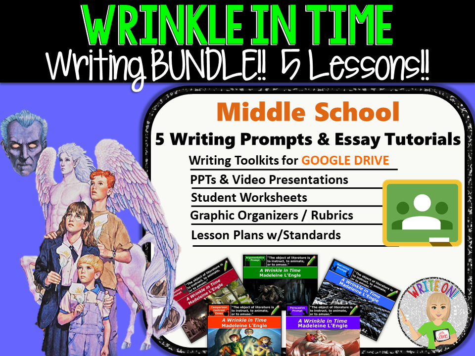 A Wrinkle in Time Writing BUNDLE 5 Text Dependent Analysis Essay Lessons Prompts