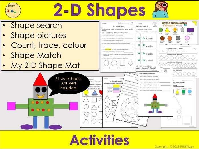 2D Shapes Worksheets /Activities - 2D Shape Mat, Count Trace Colour, Shape Pictures- Reception/KS1