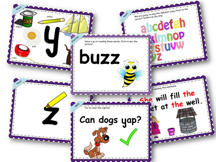 Phonics Powerpoint, Phase 3, Week 2 (y,z,zz,qu)