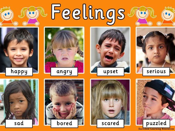 A4 EARLY YEARS POSTER SHOWING DIFFERENT FEELINGS WITH TEXT