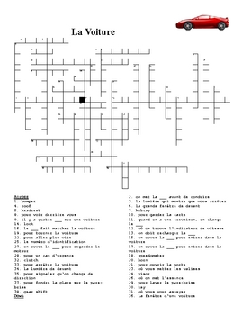 Voiture (Car in French) crossword 3