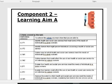 Component 2 LAA. BTEC TECH AWARD - Health and Social- writing frame and a mark scheme to go with it