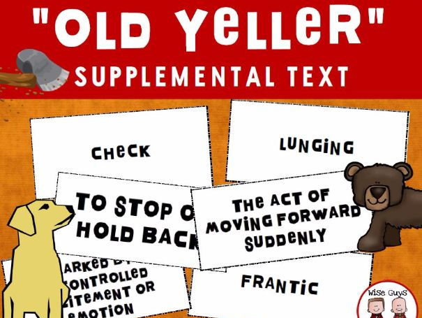Old Yeller Vocabulary Matching Game